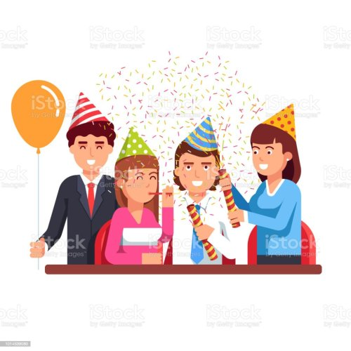 small resolution of business people having fun at corporate party flat vector clipart illustration illustration