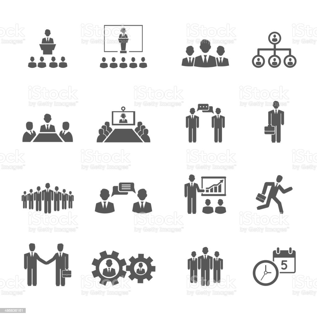 Business People Meetings And Conferences Icons Stock