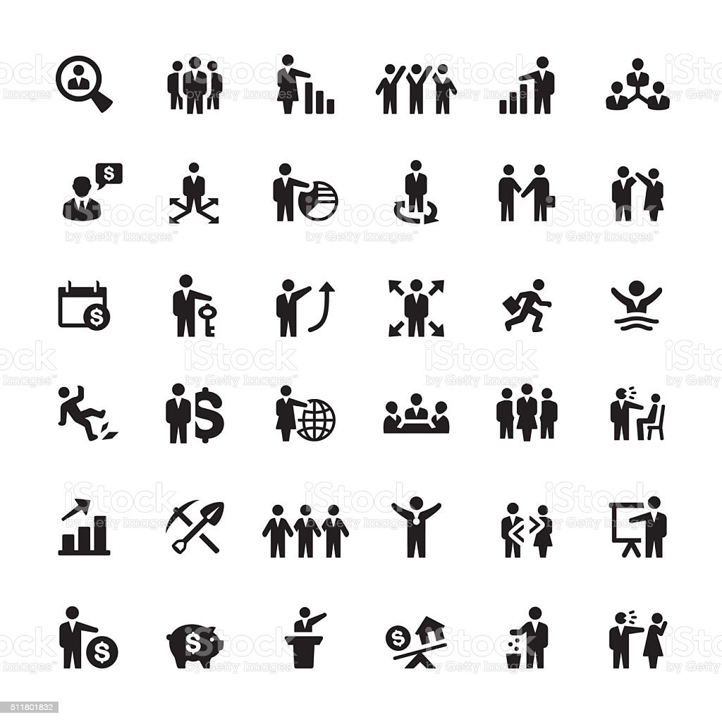 Business Person And Human Resources Vector Icons stock
