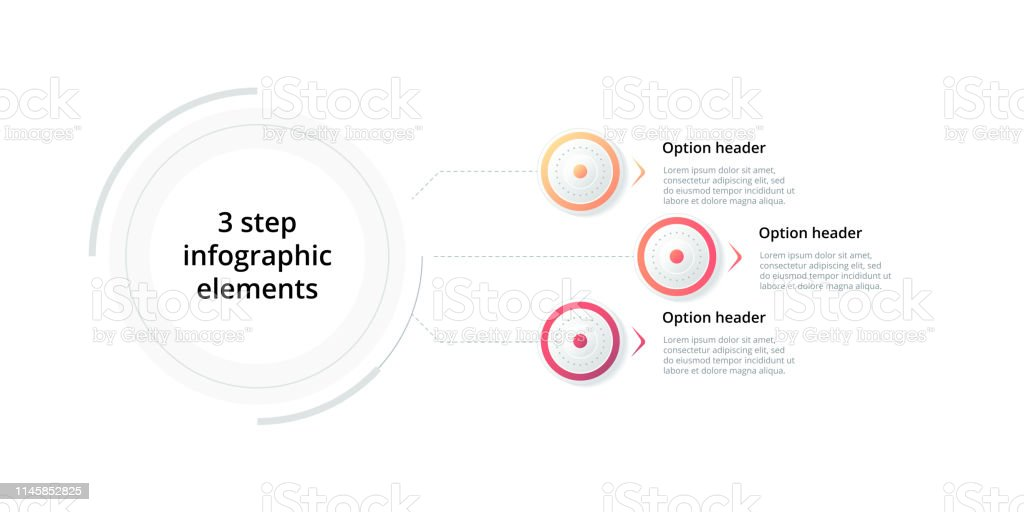 Business Process Chart Infographic With 3 Step Circles