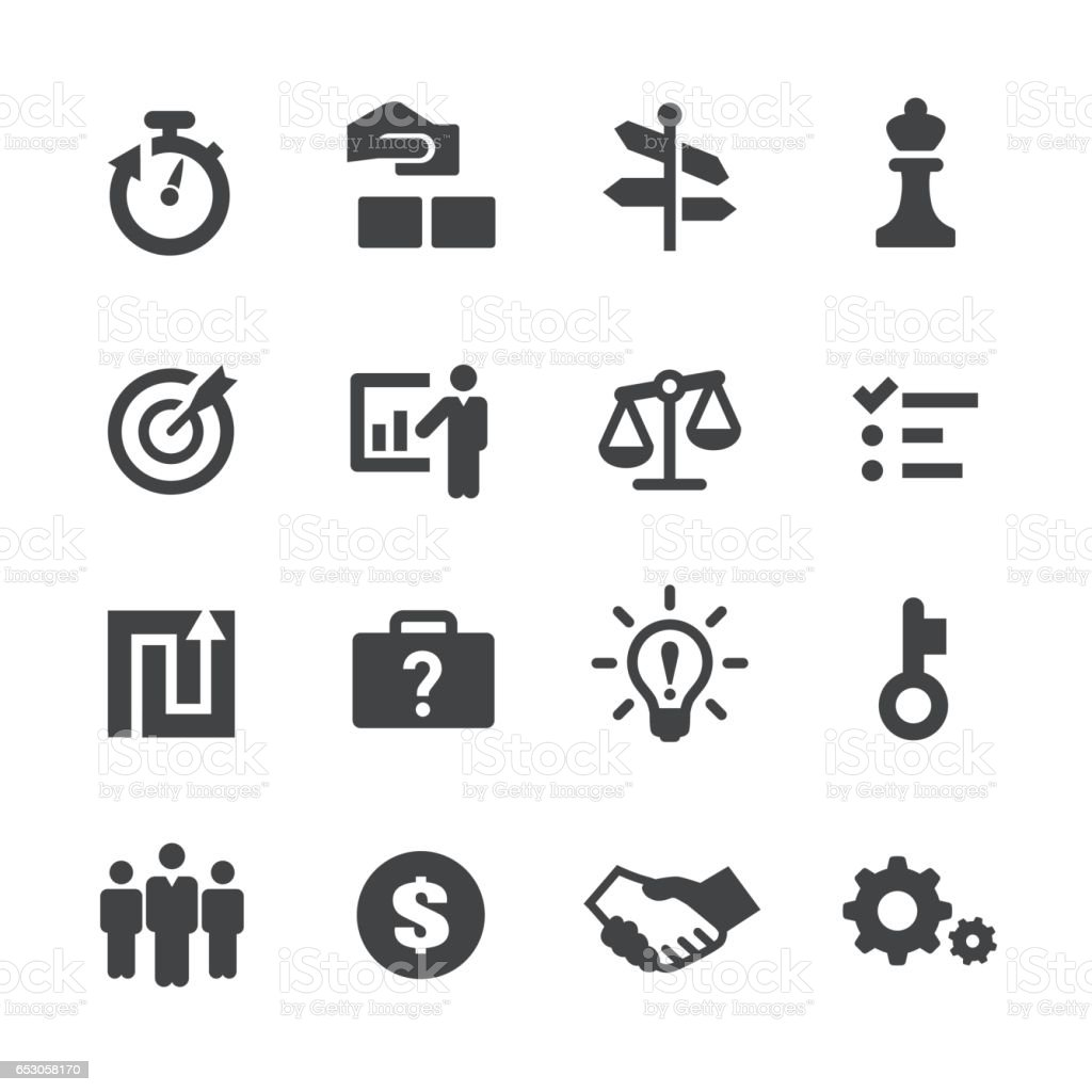 Business Solution Icons Set Acme Series Stock Illustration