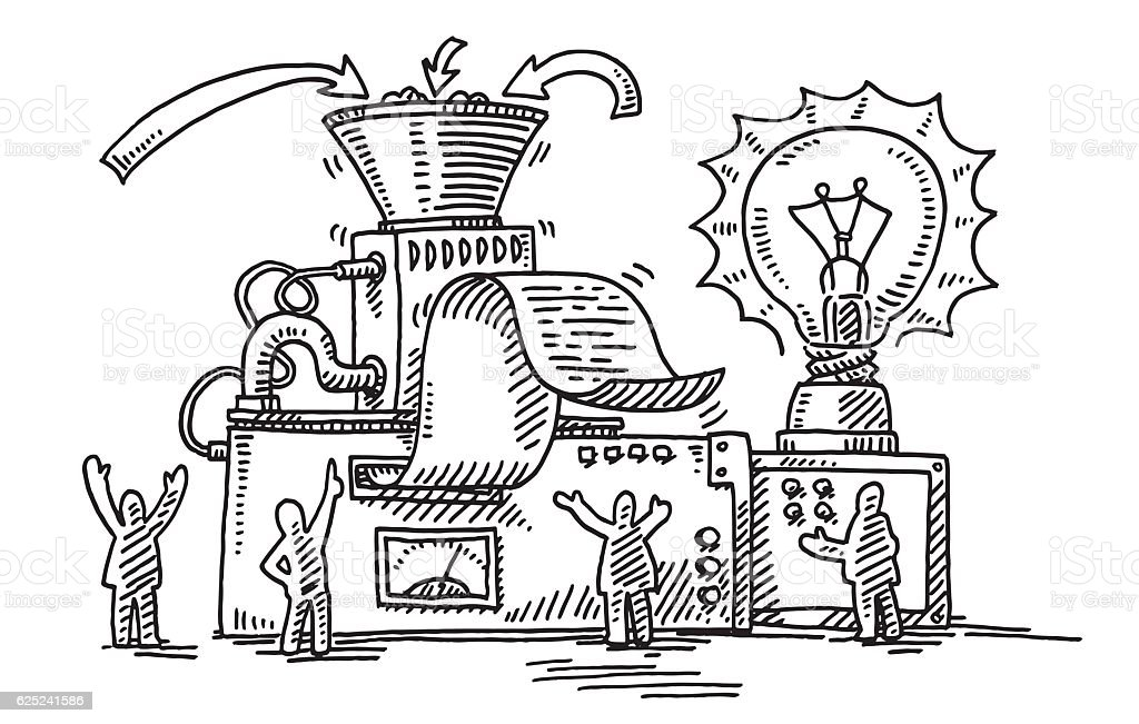 Business Solution Machine Light Bulb Drawing Stock