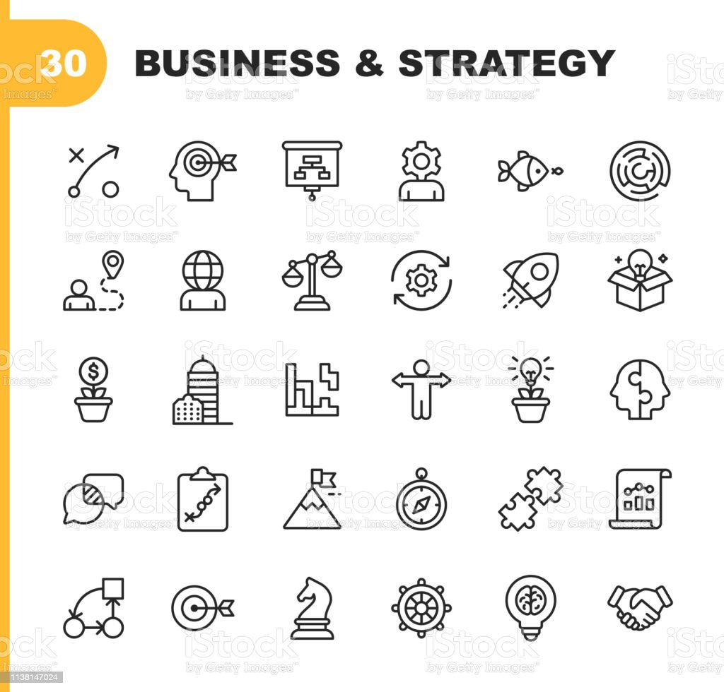 Business Strategy Line Icons Editable Stroke Pixel Perfect