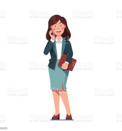 business woman talking over phone standing holding file folder vector clipart illustration royalty free business [ 1024 x 1024 Pixel ]