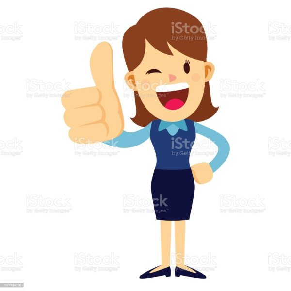 Business Woman With Her Thumbs Up Hand Sign Stock Vector