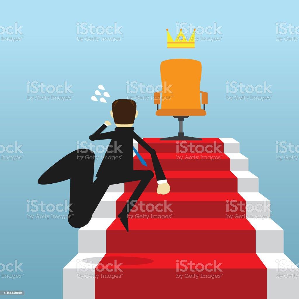 businessman climbing steps to