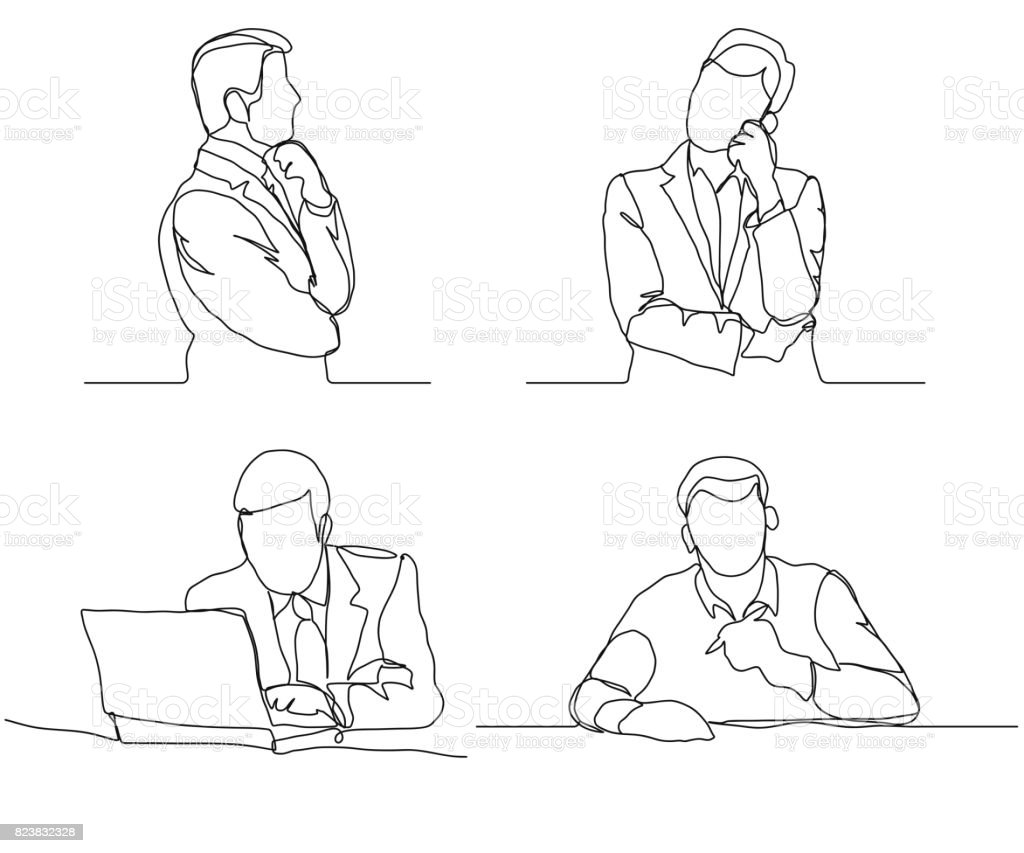 Businessman Thinking Linear Design Continuous Line