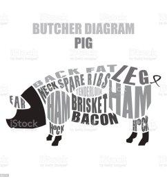 butcher diagram of pork pig cuts illustration  [ 1024 x 1024 Pixel ]