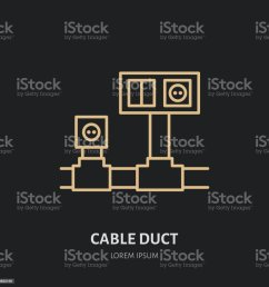 cable duct with power socket and light switch flat line icon wiring sign thin [ 1024 x 1024 Pixel ]