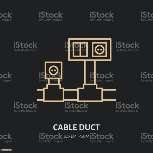 small resolution of cable duct with power socket and light switch flat line icon wiring sign thin