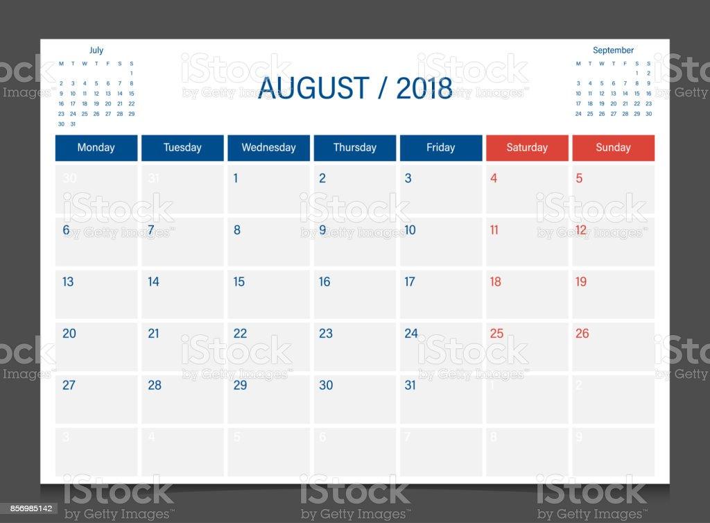 在週一的日曆 2018年 8 月周開始日曆策劃公司的設計範本 向量插圖及更多 2018 圖片 856985142   iStock