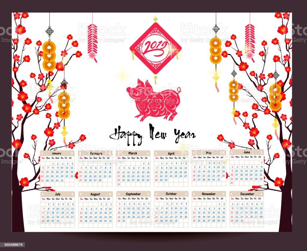 日曆2019農曆新年快樂2019年的豬 向量插圖及更多 2019 圖片 955586676   iStock