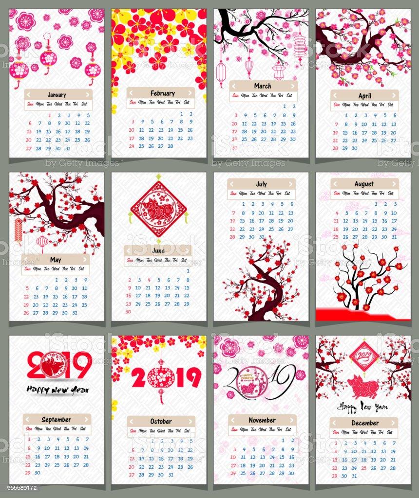 日曆2019農曆新年快樂2019年的豬 向量插圖及更多 2019 圖片 955589172   iStock