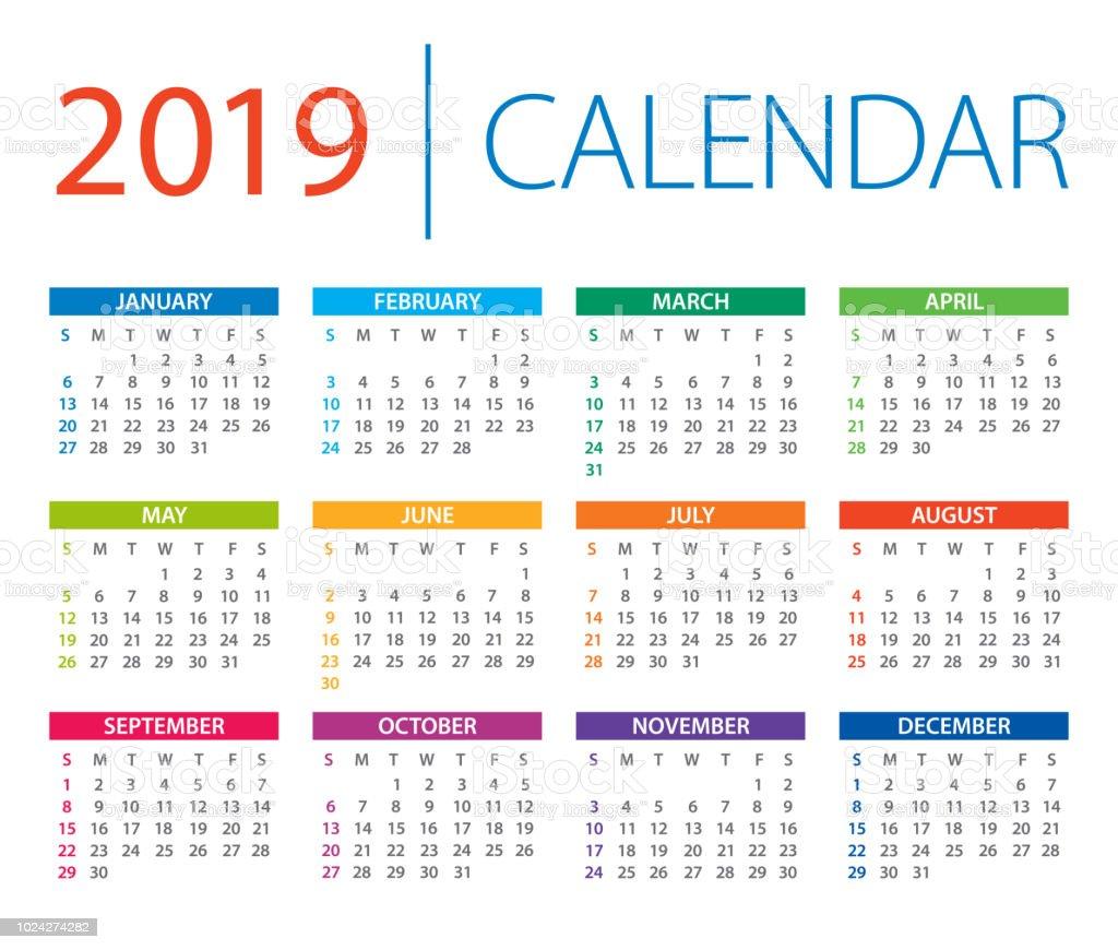 Calendar 2019 Vector Illustration Days Start From Sunday ...