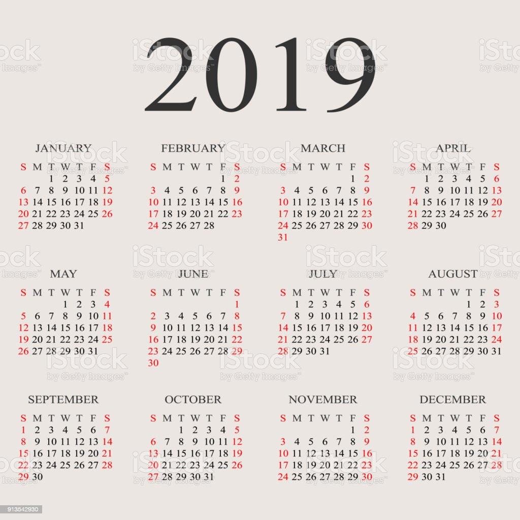 日曆2019年向量設計範本 向量插圖及更多 2019 圖片 913542930   iStock
