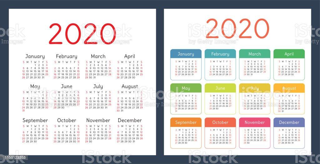 Kalender 2020 Jaar Vector Ontwerpsjabloon Set Kleurrijke Pocket Kalender Week Start Op Zondag Stockvectorkunst en meer beelden van 2020 - iStock