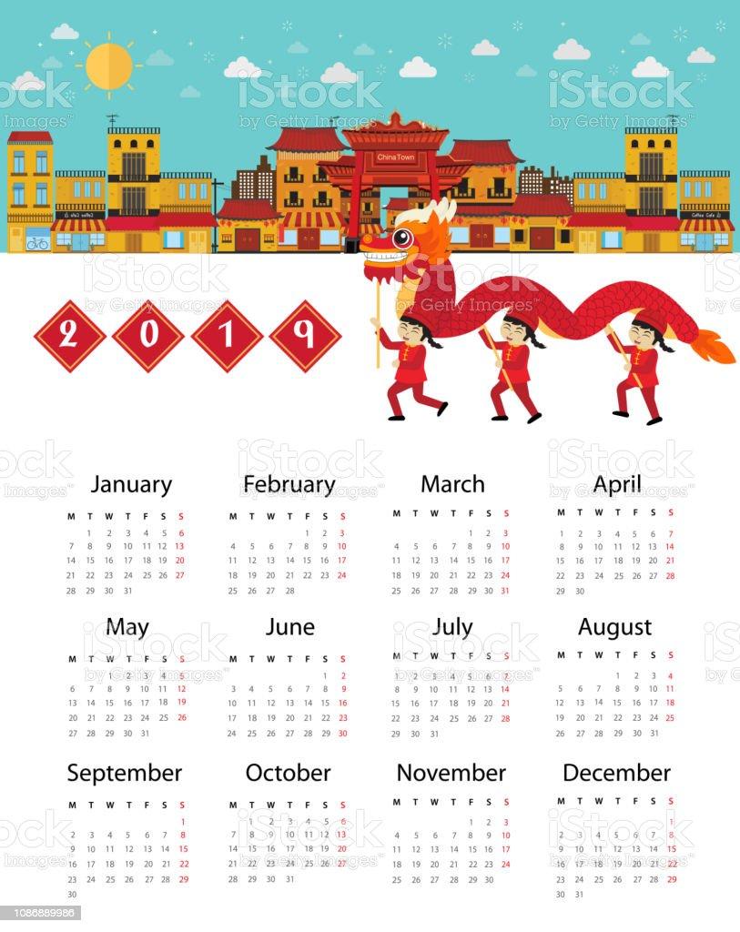 Année Du Dragon Calendrier Chinois : année, dragon, calendrier, chinois, Calendrier, Chinois, Nouvelle, Année, Danse, Dragon, Vecteurs, Libres, Droits, D'images, Vectorielles, IStock