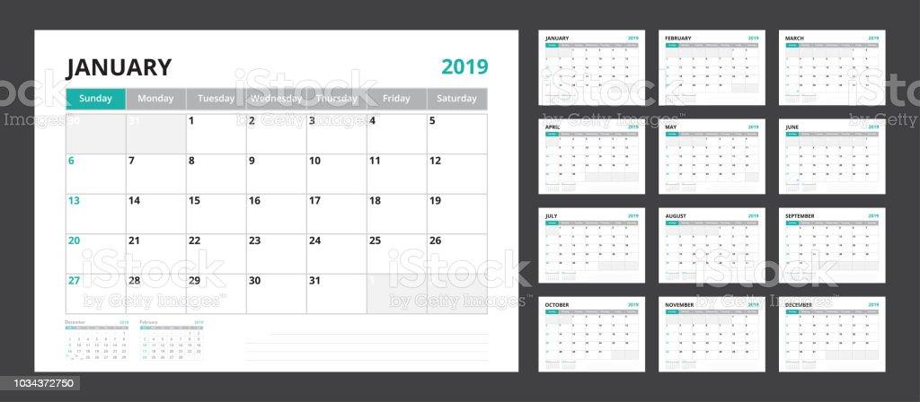 2019 Calendar Planner Set For Template Corporate Design
