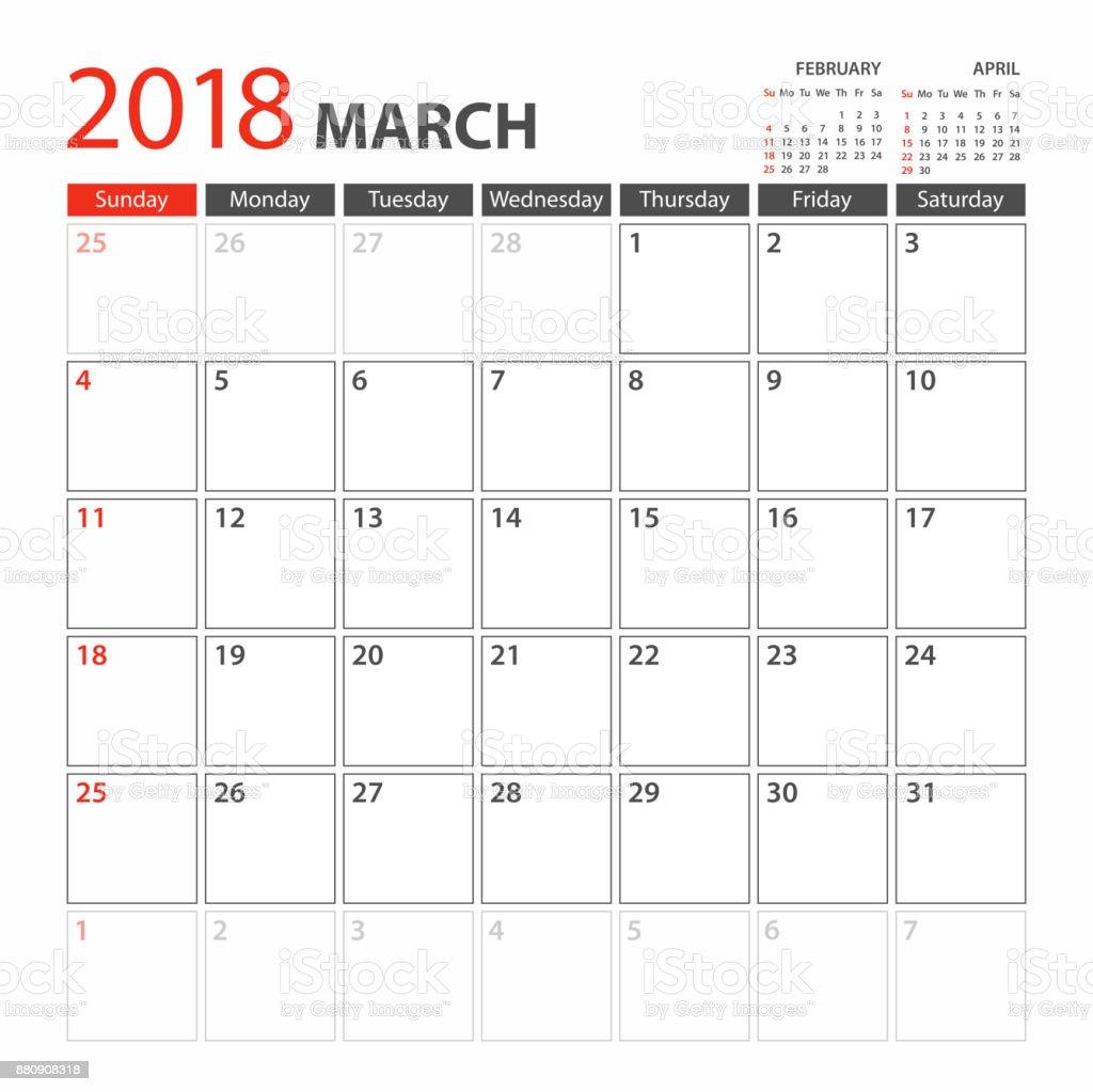 日曆規劃器範本 2018 3月星期從星期日開始 向量插圖及更多 2018 圖片 880908318   iStock