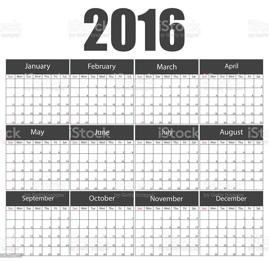2016 Calendar Template Brochure Business Design Vector