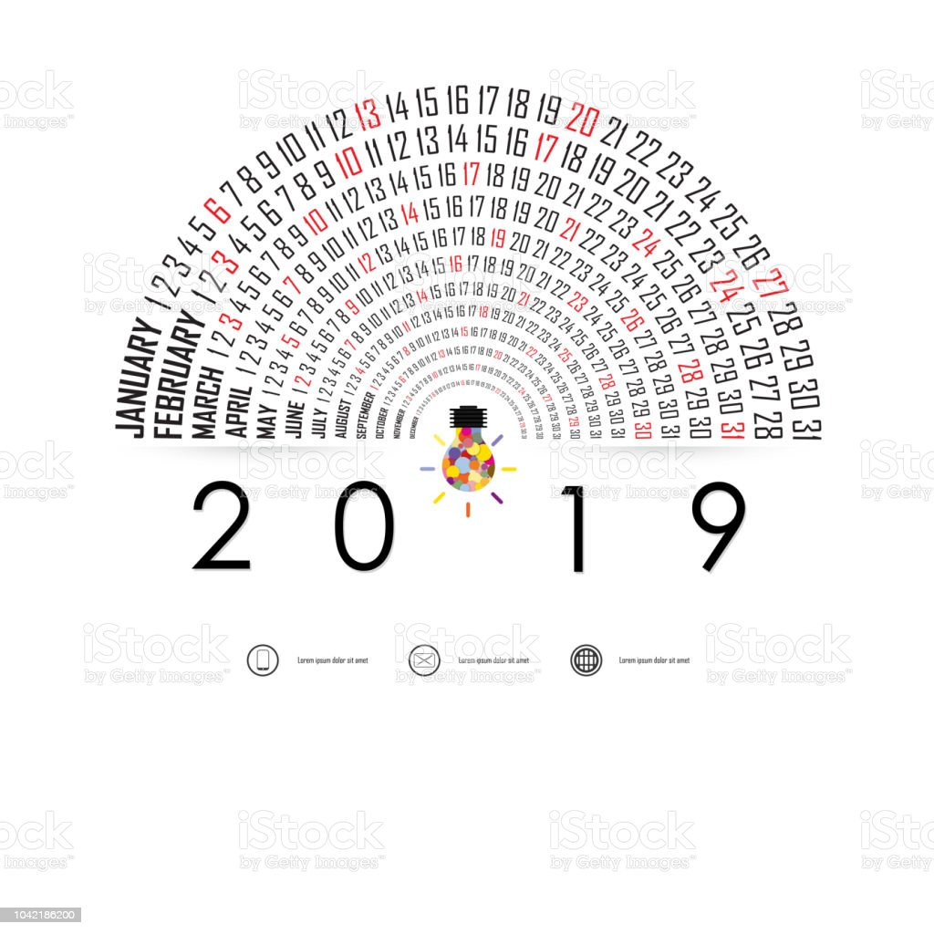 2019 Calendar Template With Idea Light Bulb Iconsemicircle