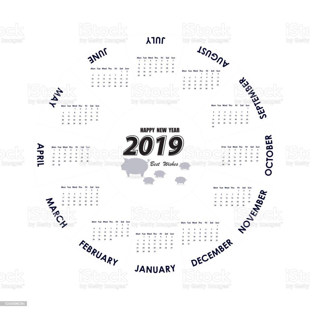 2019 Calendar Templatecircle Calendar Templatecalendar