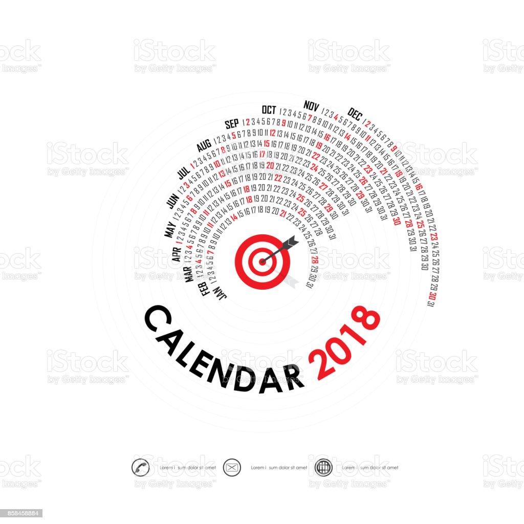 2018 Calendar Templatespiral Calendarcalendar 2018 Set Of