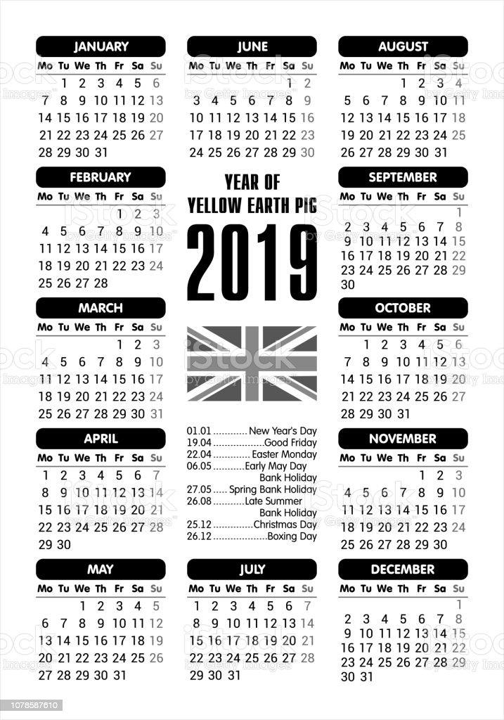2019 Calendar Uk Flag And Holidays Starting Monday Vector