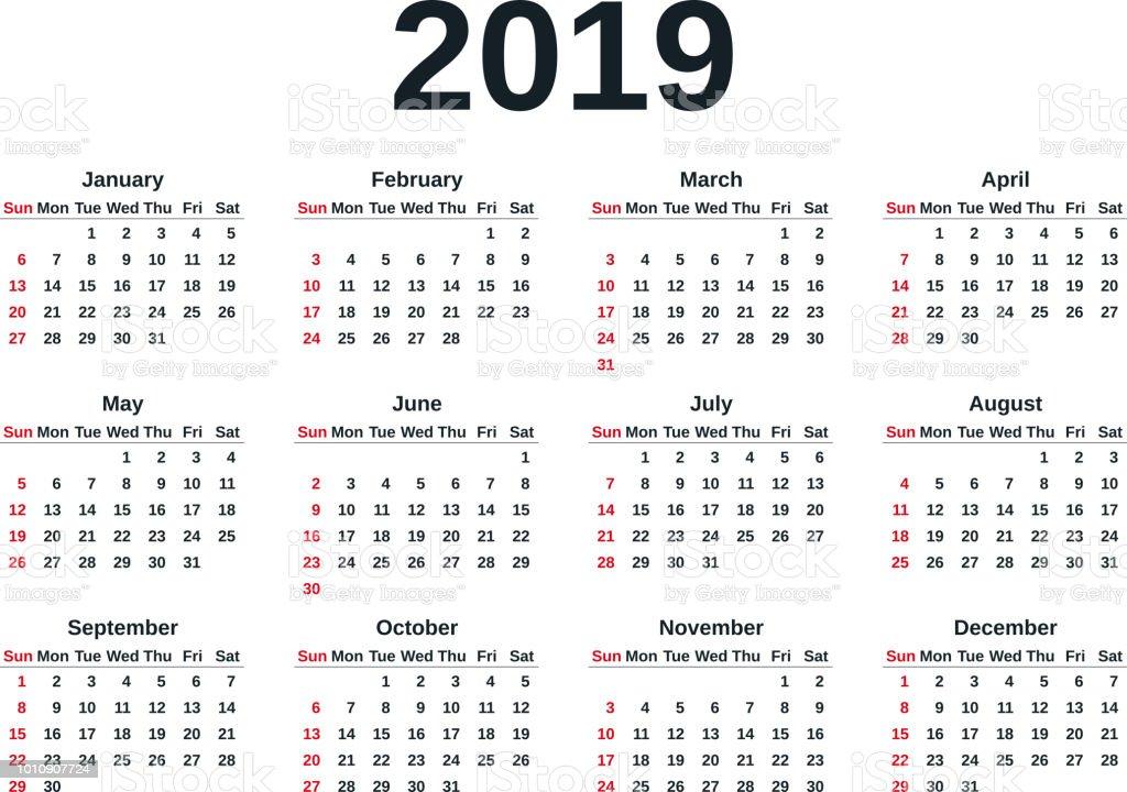 2019日曆年向量插圖範本規劃器 向量插圖及更多 2019 圖片 1010907724 | iStock
