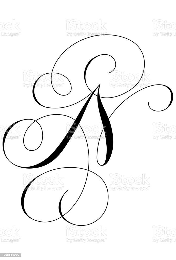 N In Calligraphy : calligraphy, Calligraphy, Alphabet, Letter, Stock, Illustration, Download, Image, IStock