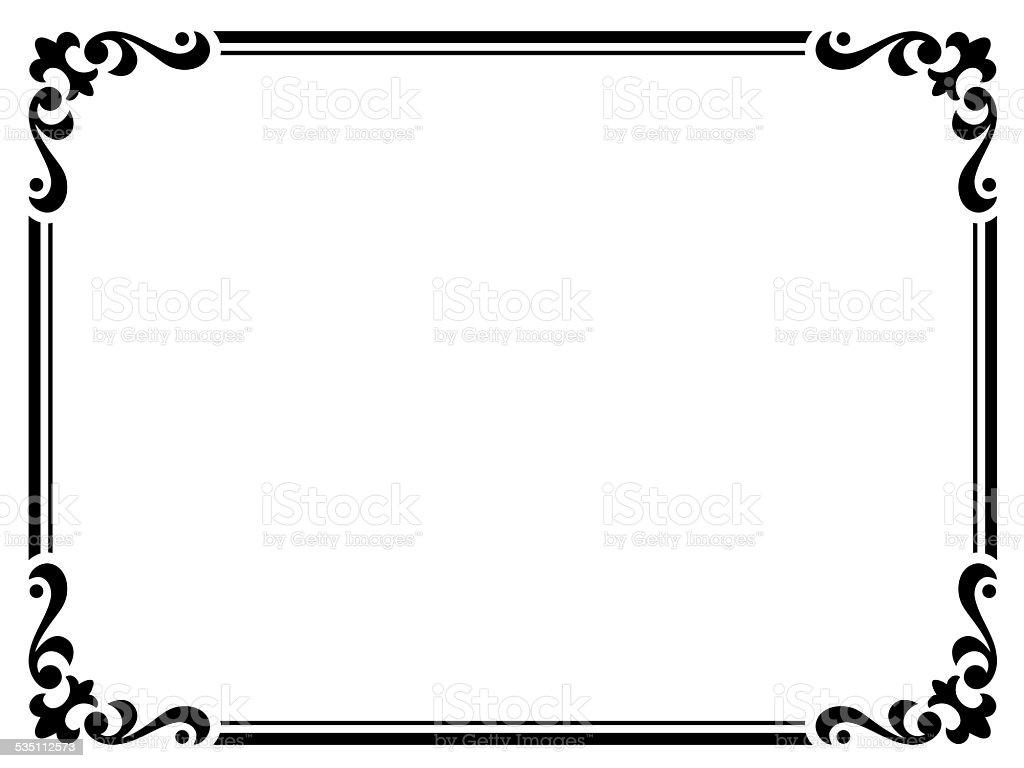 Calligraphy Penmanship Curly Baroque Frame Black Stock