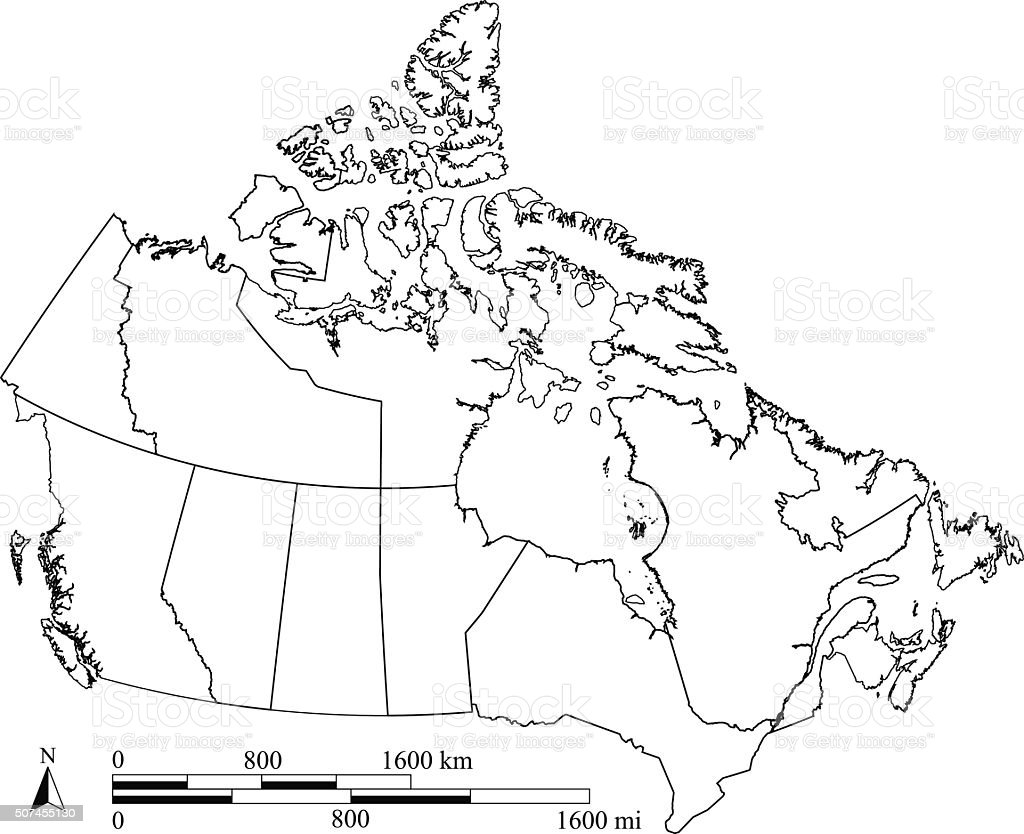 Canada Map Outline Vector With Scales In A Blank Design