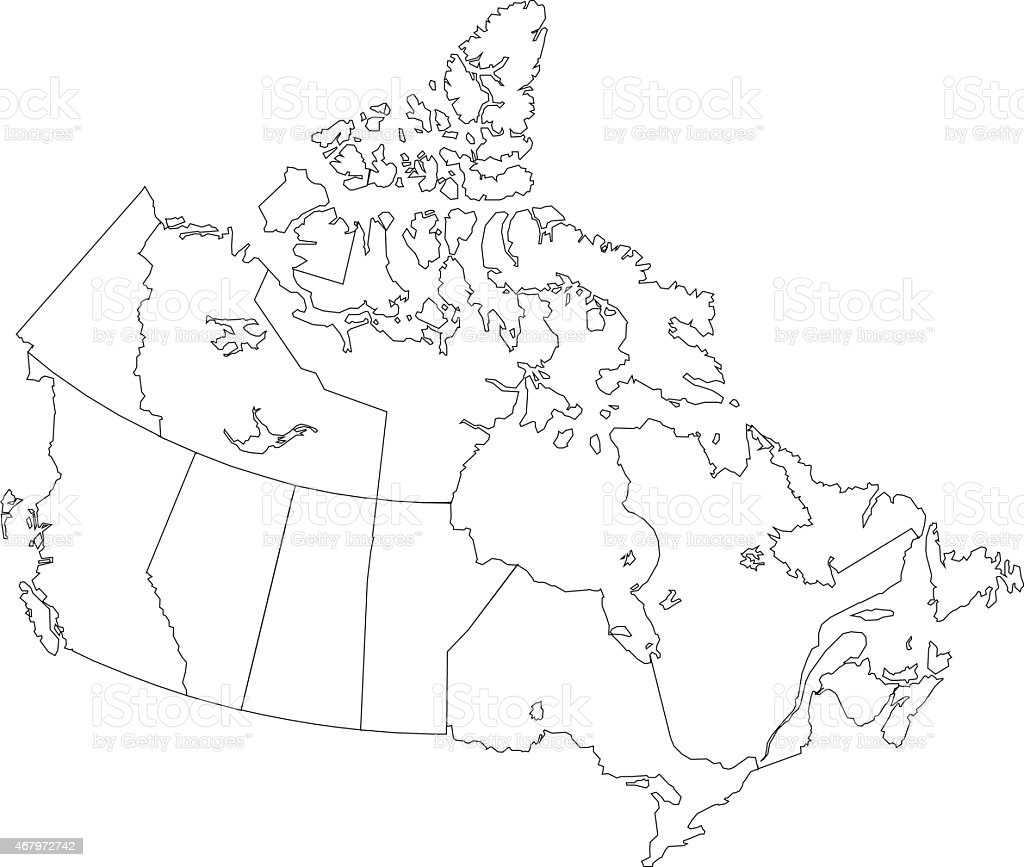 Canada Simple Outline Map On White Background Stock Vector
