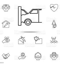 car accident line icon insurance icons universal set for web and mobile illustration  [ 1024 x 1024 Pixel ]