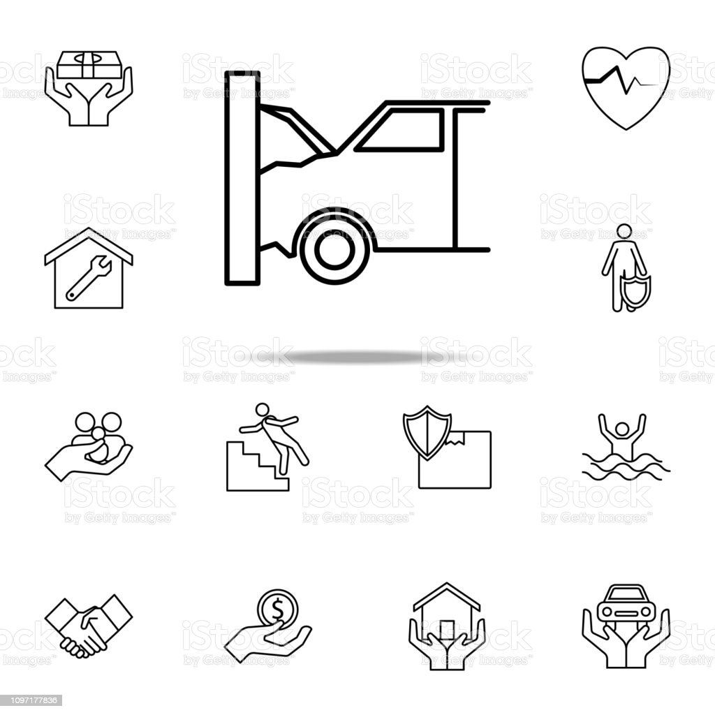 hight resolution of car accident line icon insurance icons universal set for web and mobile illustration