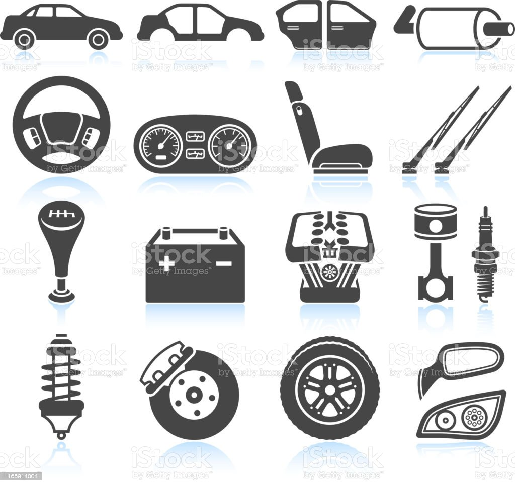 Car Assembly And Parts Black White Vector Icon Set stock