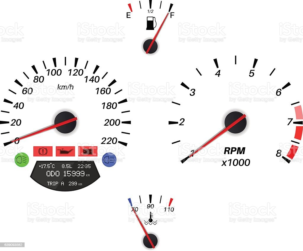 Car Dashboard Signs Speedometer Tachometer Fuel And
