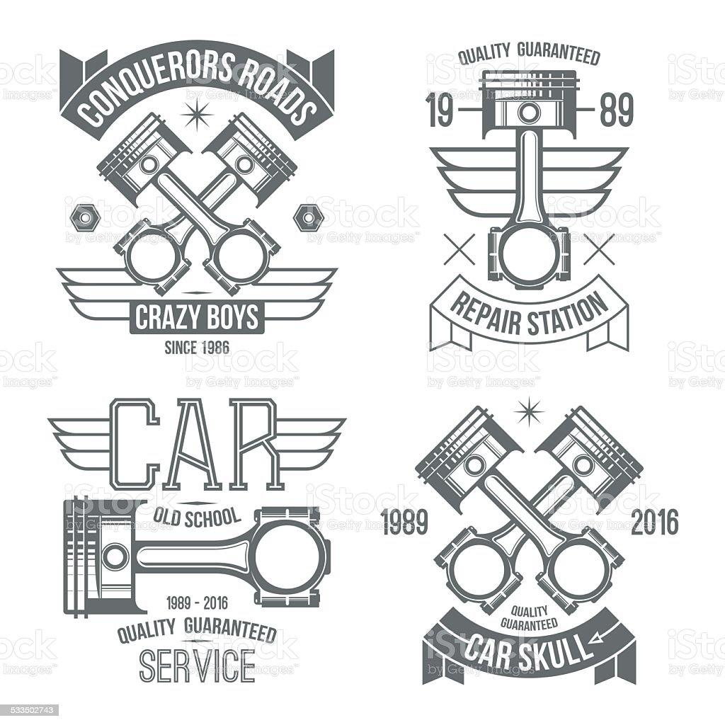 Car Engine Piston Emblems Stock Vector Art & More Images