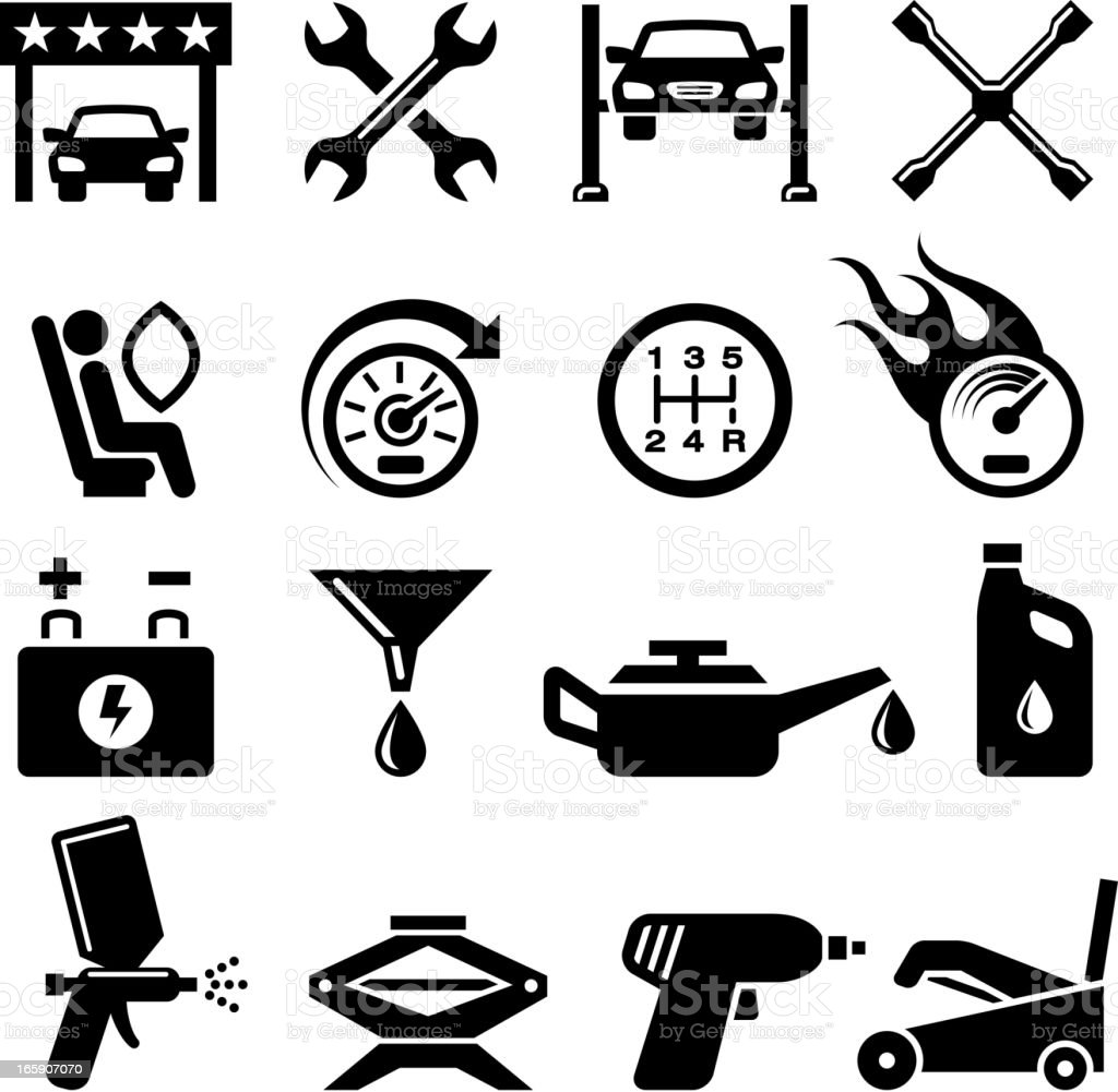 Car Inspection And Repair Black White Vector Icon Set