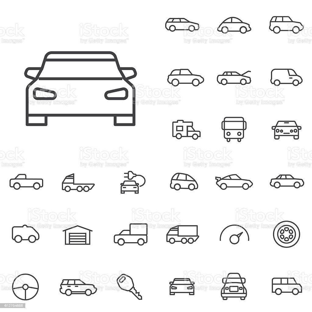 Car Outline Thin Flat Digital Icon Set Stock Illustration
