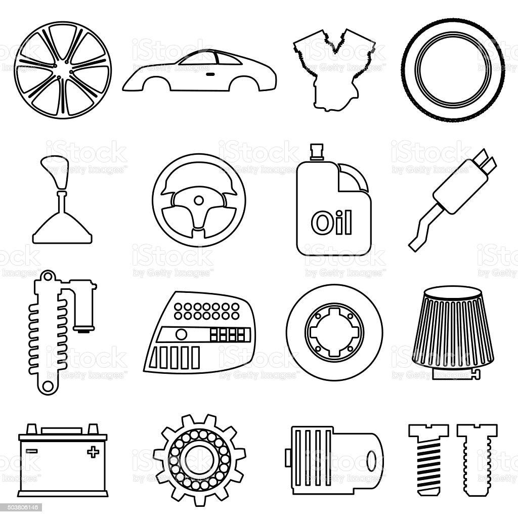 Car Parts Store Simple Black Outline Icons Set Eps10 Stock