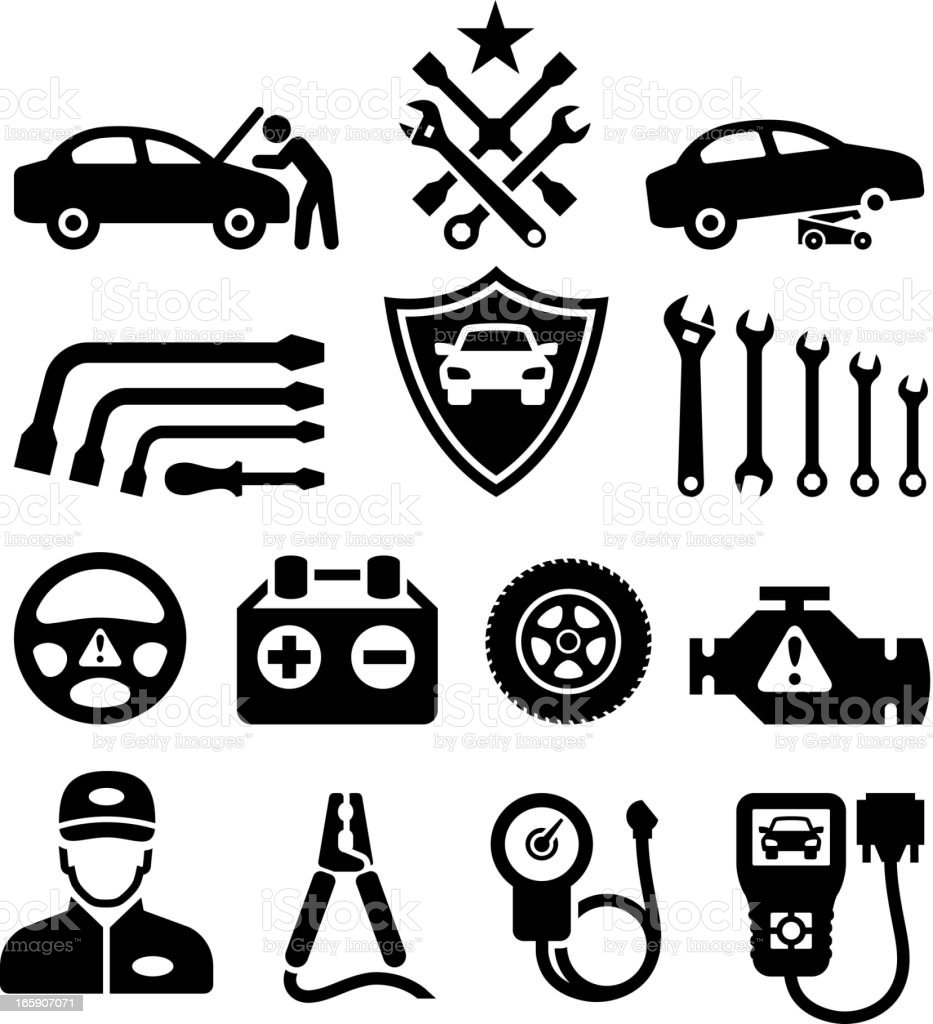 Car Repair Black White Royalty Free Vector Icon Set stock