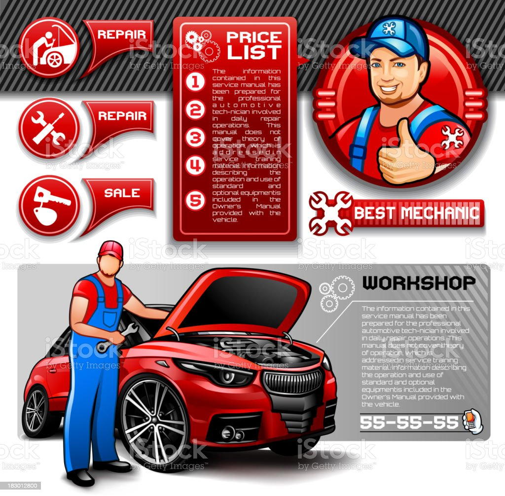 Car Repair Infographics Stock Vector Art More Images Of