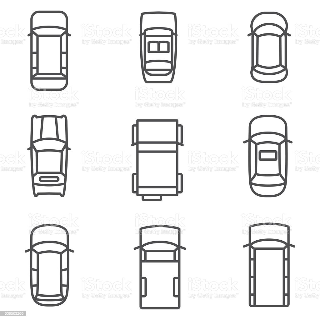 Car Top View Vector Icons Stock Vector Art & More Images