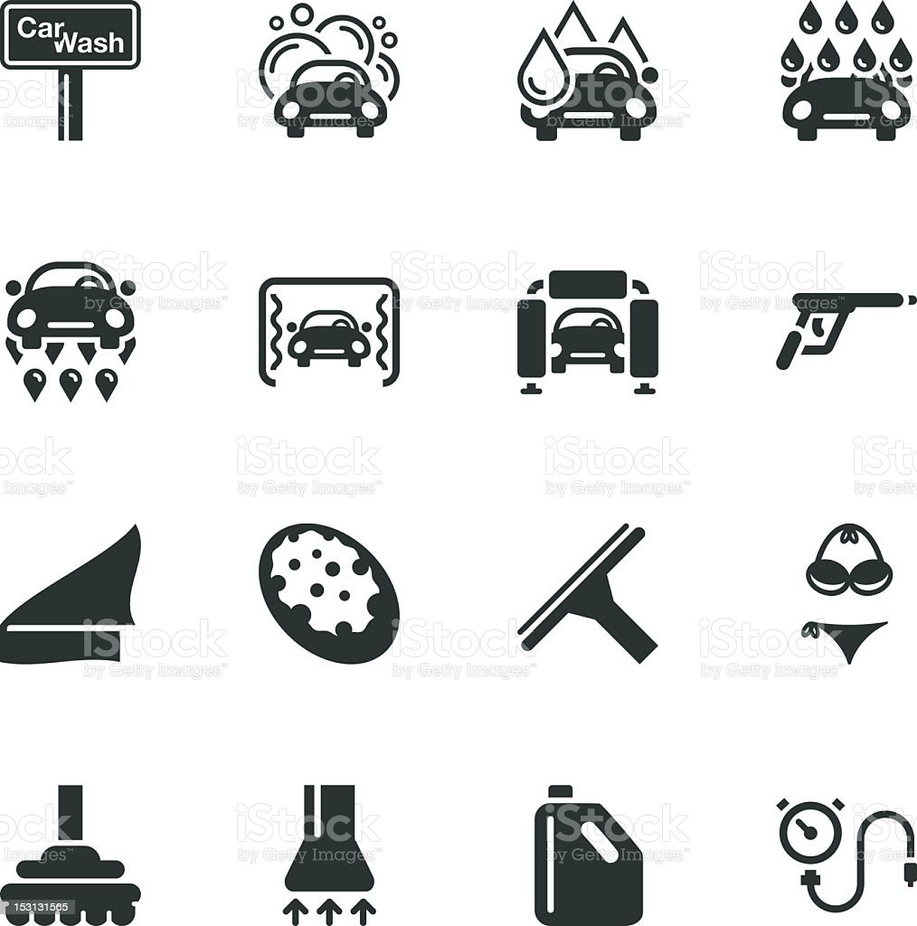 Car Wash Silhouette Icons Stock Vector Art & More Images