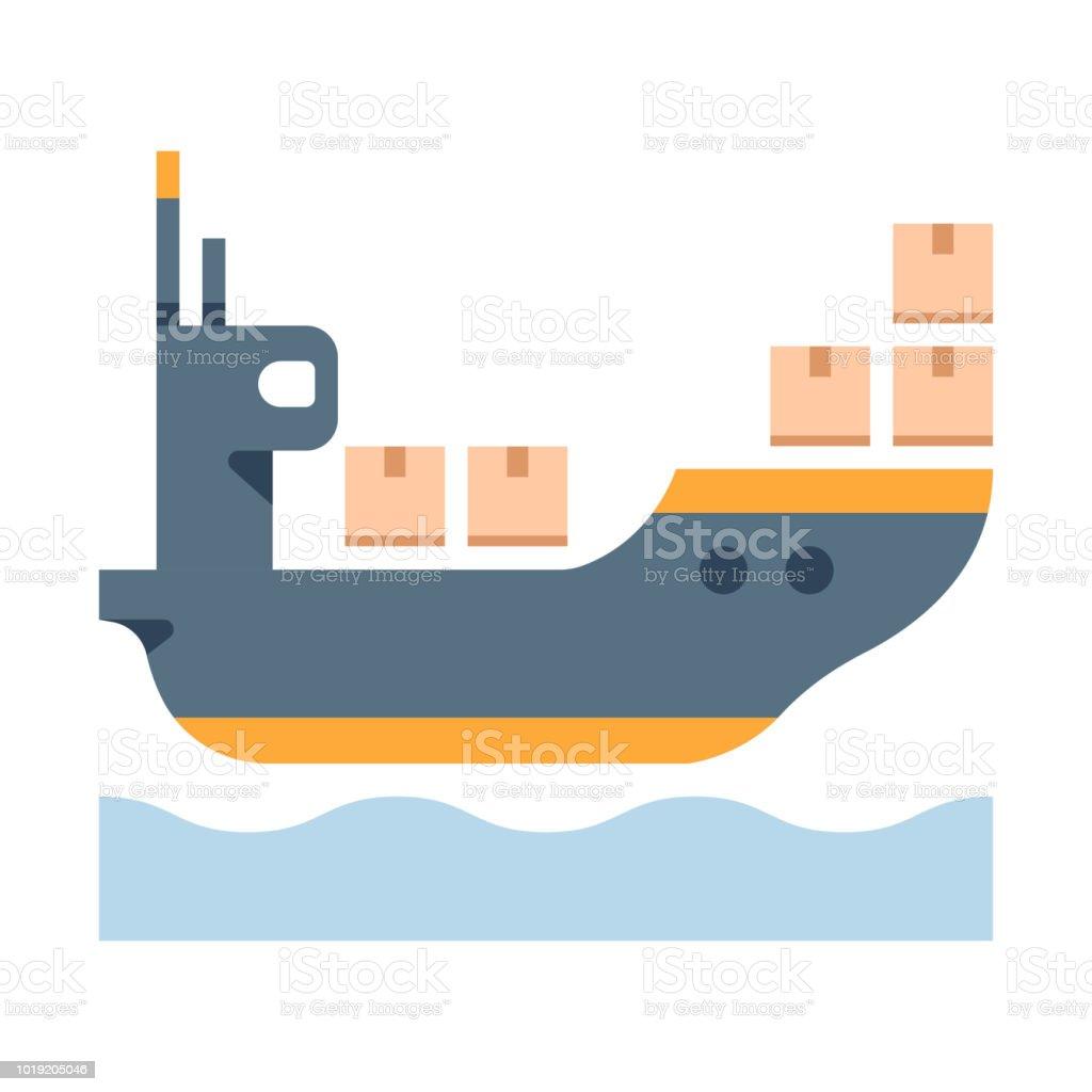 hight resolution of cargo ship flat illustration illustration