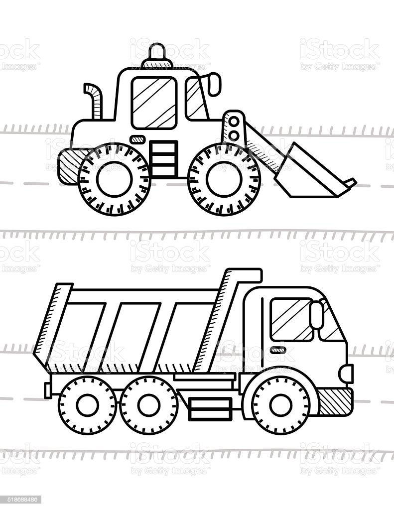 Cars And Vehicles Coloring Book For Kids Dump Truck