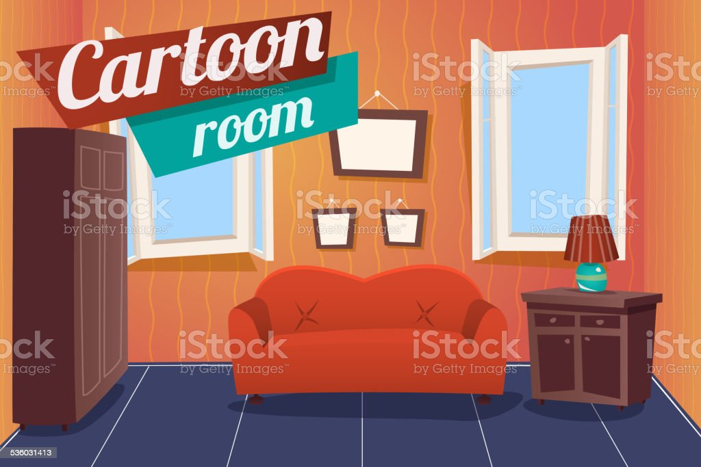 Cartoon Apartment Livingroom Interior House Room Retro Vintage Background Vector Stock Illustration Download Image Now Istock