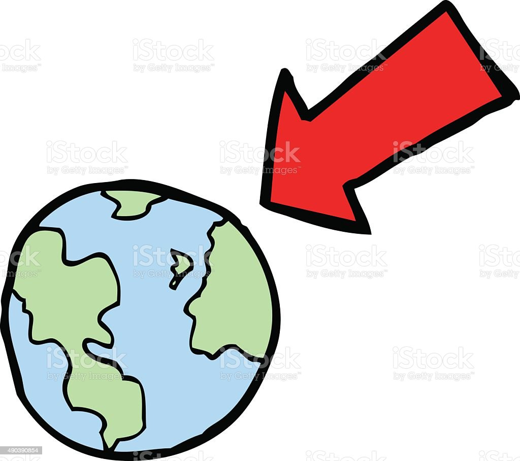 Cartoon Arrow Pointing At Earth Stock Illustration - Download Image Now - iStock