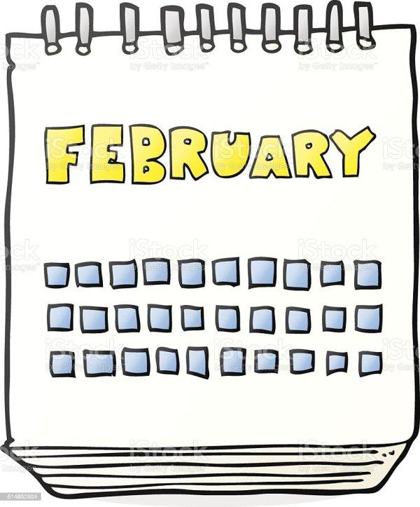 Cartoon Calendar Showing Month Of February stock vector